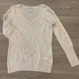 White House Black Market Braid Sleeve Sweater